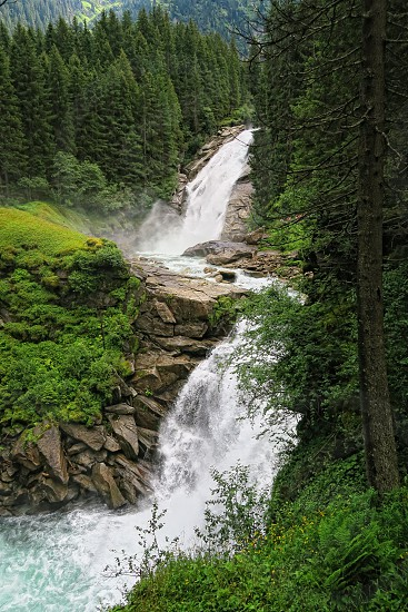 Krimml waterfalls in high tauern mountain range national park (austria). hdr photo