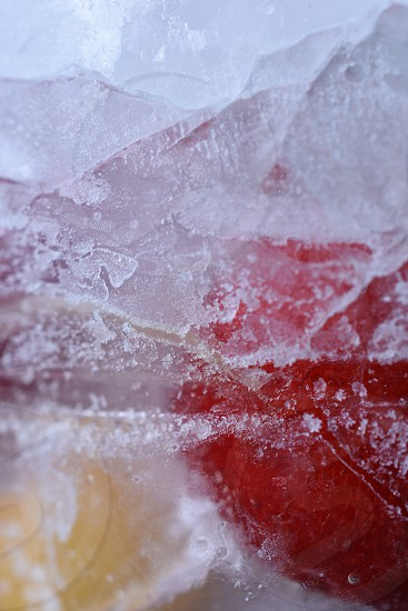 ice particles breaking down close up photo photo