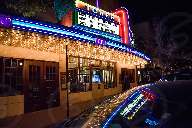Tower Theatre bend Oregon neon lights marquee night photo