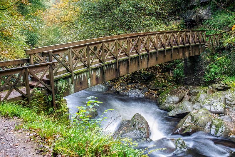 Bridge over the East Lyn River near Lynmouth in Devon photo