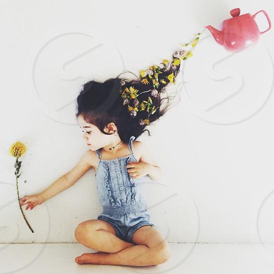Teapot flower girl whimsical white flowers photo