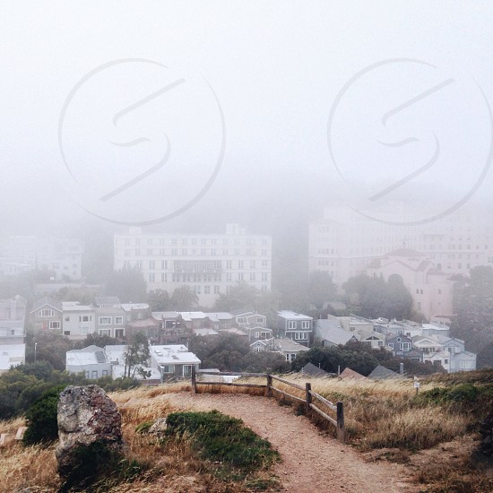 buildings covered with fogs photo
