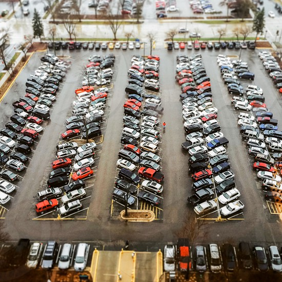 top view of car parking lot during daytime photo