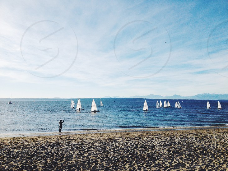 a day at the Sound with sailboats  photo