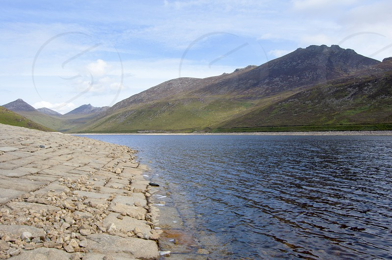 Mourne Mountains Northern Ireland Summer Walking Path stones Reservoir Ripples photo