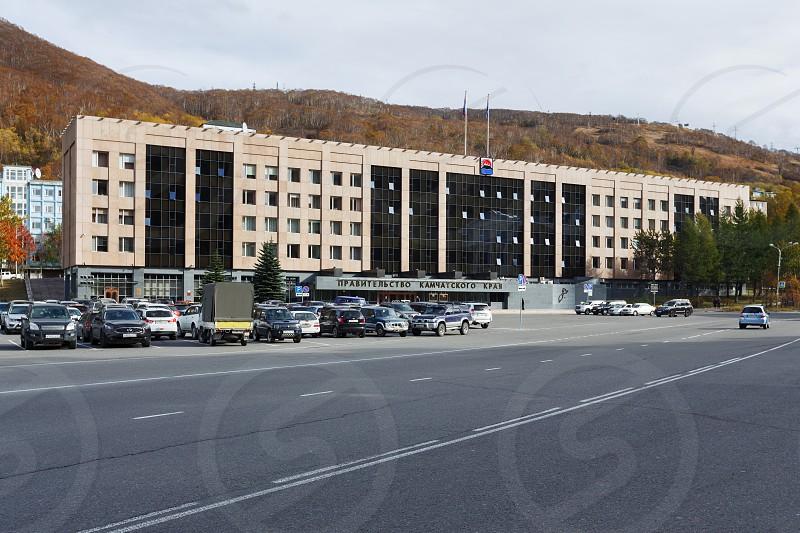 PETROPAVLOVSK-KAMCHATSKY CITY KAMCHATKA RUSSIA - OCTOBER 12 2016: Office building Government of Kamchatka Region Legislative Assembly of Kamchatka Region and Russian President's Reception in Kamchatka. photo