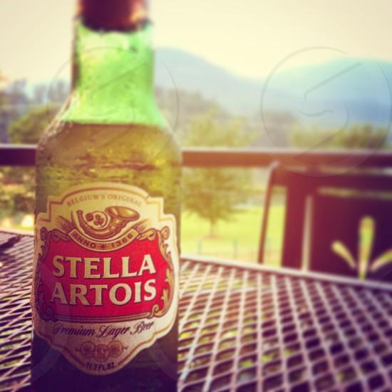 Beer by sunset. Lake Lure North Carolina. photo