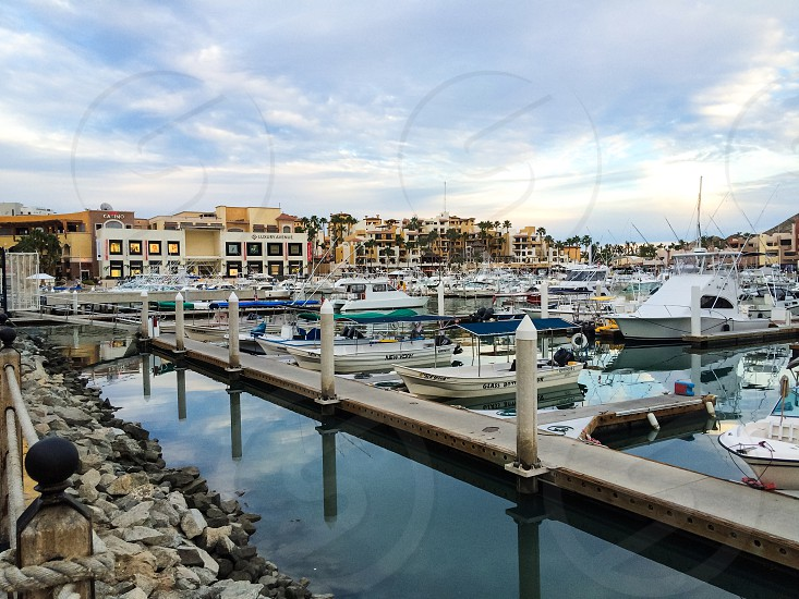 Another view from the Los Cabos marina showing a portion of the city skyline. photo