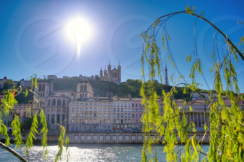 A view of Lyon France along the Saone river in the afternoon. photo