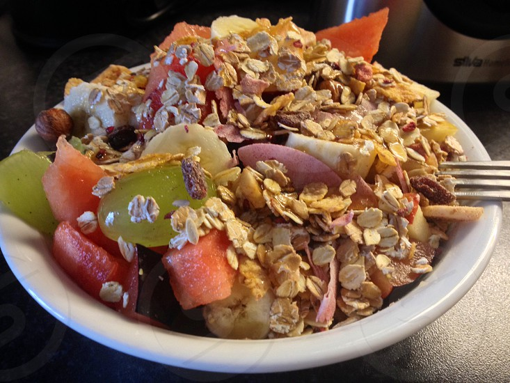 fruit salad with oats photo