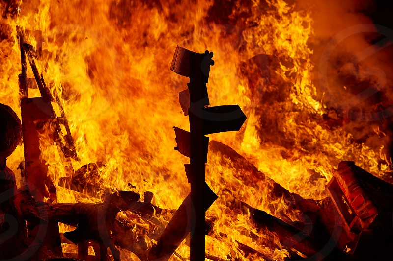 Fallas fire burning in Valencia fest at March 19 th Spain tradition photo