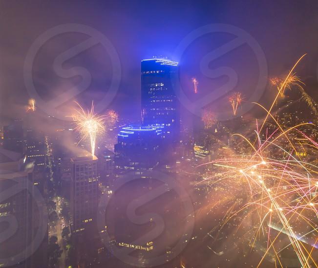 Fireworks melbourne new year eve skyscrapers skyline urban building city cityscape night australia photo
