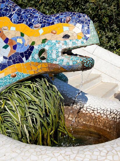 Dragon salamandra of gaudi mosaic in park guell of Barcelona photo
