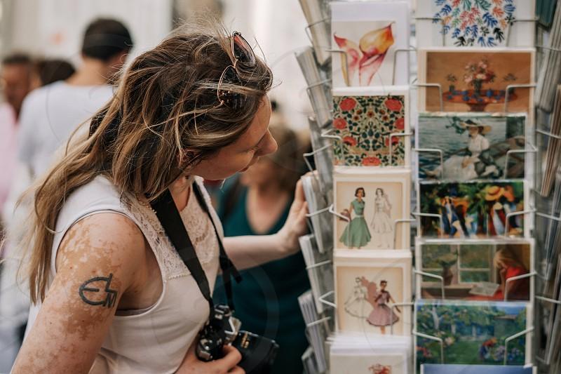 Happy woman with vitiligo does tourism in Europe photo