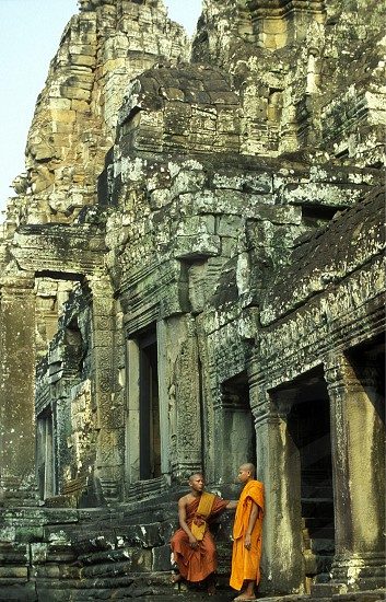 the bayon temple in angkor Thom temples in Angkor at the town of siem riep in cambodia in southeastasia.  photo