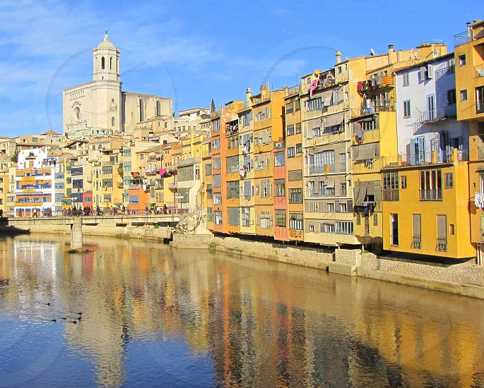 Reflections in Onyar River; Girona Spain photo