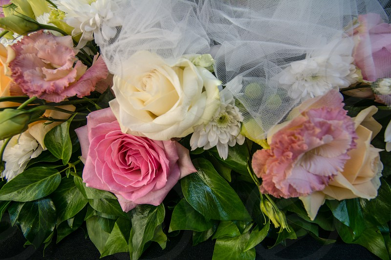 pink and white flowered bouquet photo