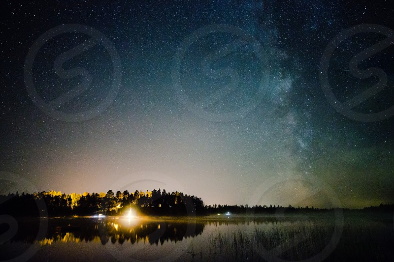 A lake A Meteor and the Milky Way photo