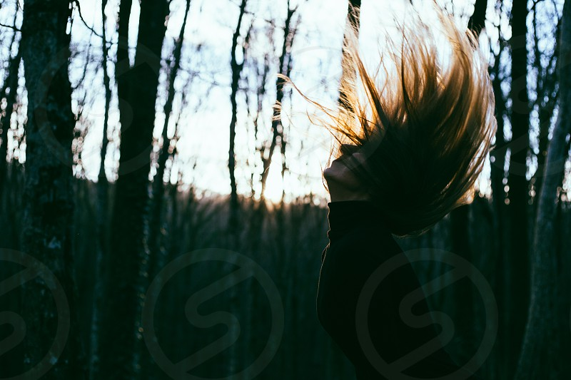 Beautiful sunset light on a women's hair photo