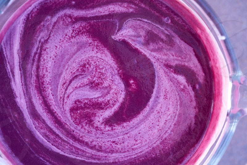 Acai bowl smoothie preparation with blender healthy food photo