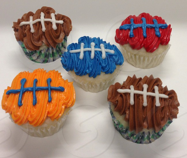 Football cupcakes in team colors  photo