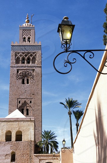 The Mosque Koutoubia in the old town of Marrakesh in Morocco in North Africa. photo