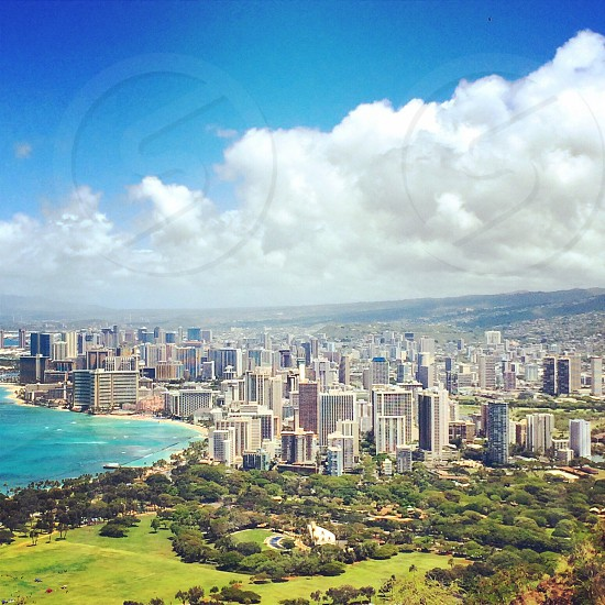 Waikiki. This was taken from the top of Diamond Head. It was a great day to do a short hike. photo