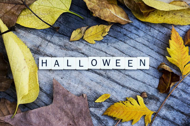 Halloween written on wooden background among colorful autumn leaves photo