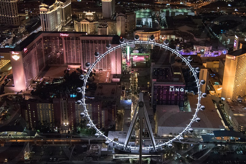 Las Vegas from above photographed at night along the strip.  photo
