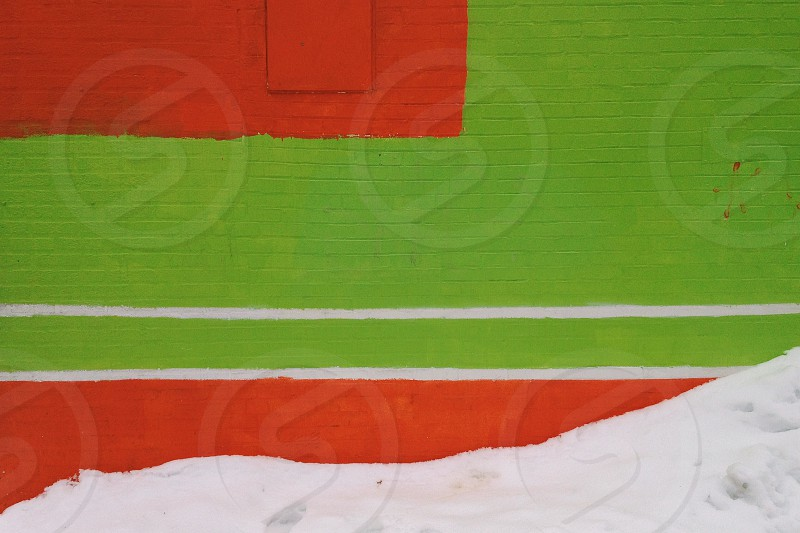 Wall snow green lime orange line lines texture winter brick paint bright bold color photo