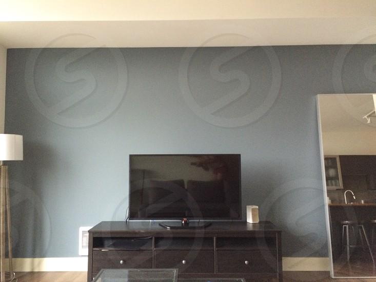 Masculine interior tv bare wall  photo