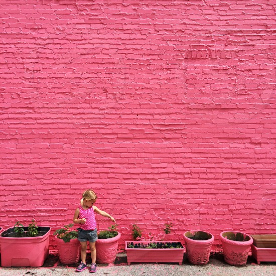 Girl pink wall cute photo
