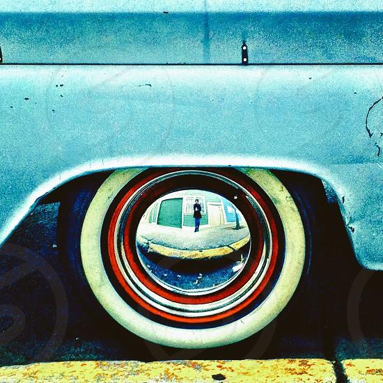 Wheel reflection selfie  photo