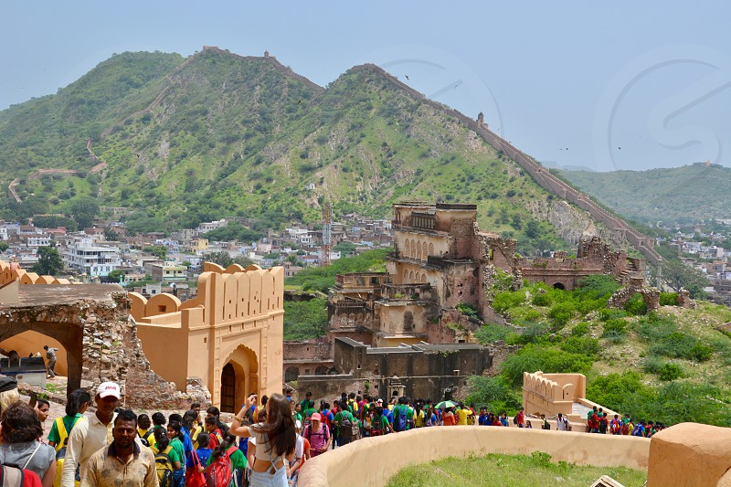 Enjoying the view from the top of the Amber Fort/Palace in Jaipur India photo