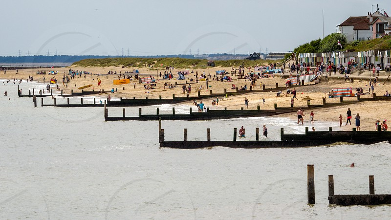 People Enjoying the Beach at Southwold photo