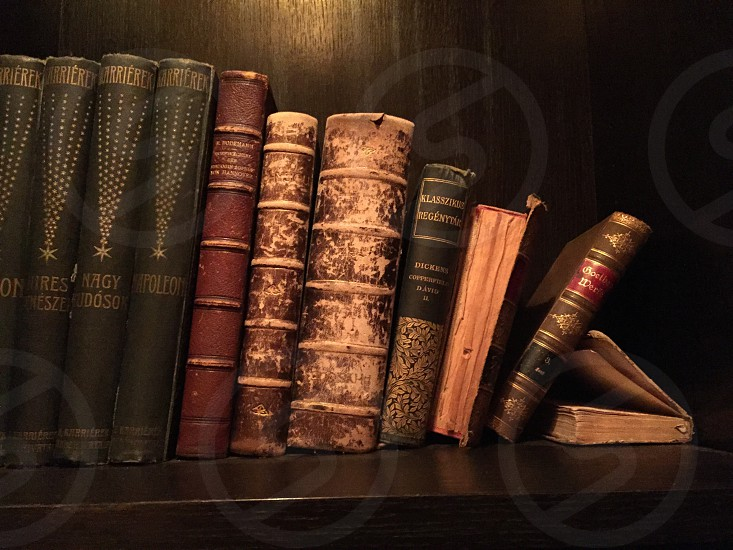 assorted books on brown wooden bookshelf photo