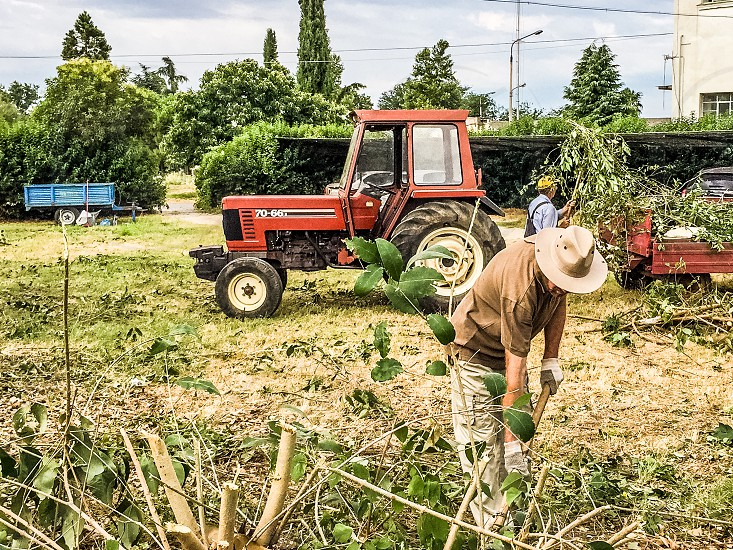 Farming Tractor And Farm Workers At Work photo
