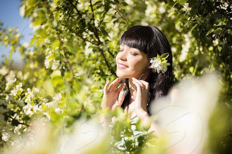woman outdoors happiness day lifestyle dream enjoy spring photo