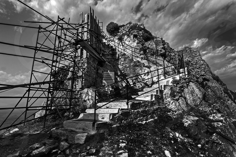 A stairway to the 'Kastro' (Castle) on the Northern tip of Skiathos. photo