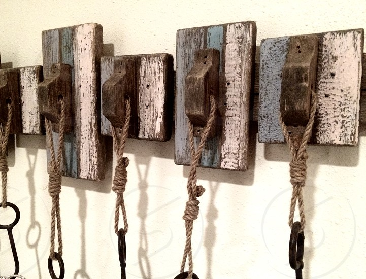 Wood metal rope coat hanger hooks rustic weathered DIY beach style photo