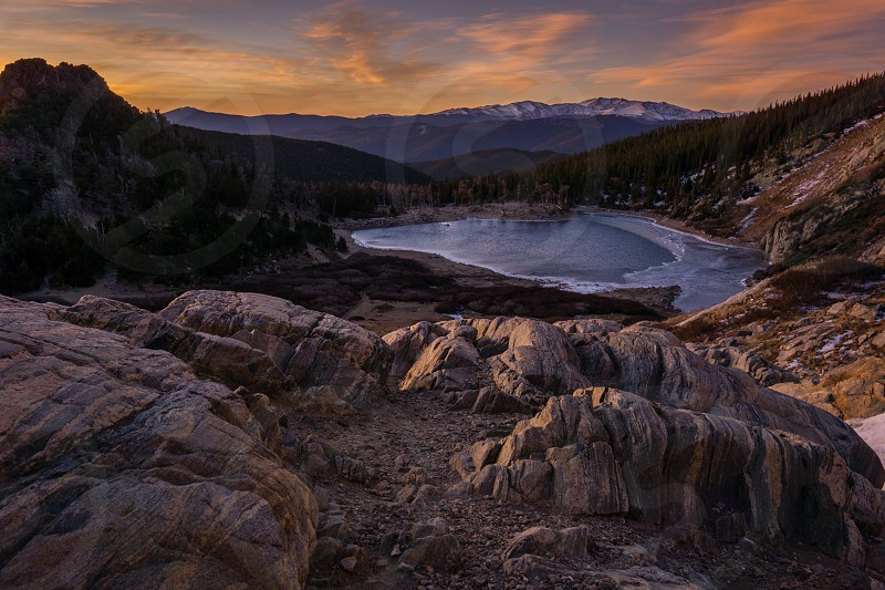 Sunrise at St Marys Glacier Idaho Springs Colorado. photo