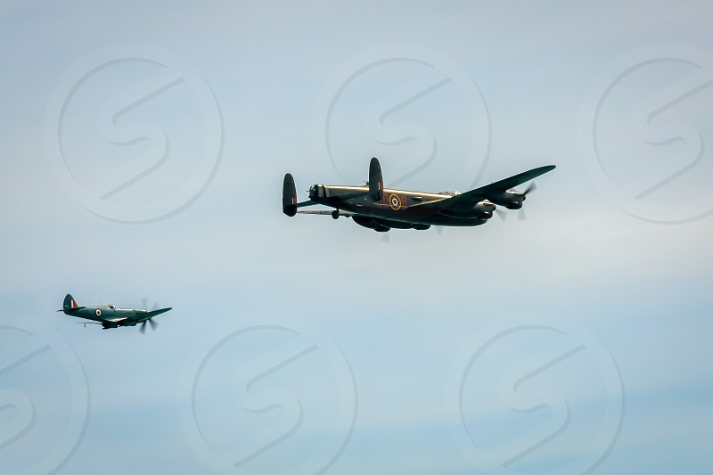 Avro Lancaster and Spitfire MK1 at Airbourne photo