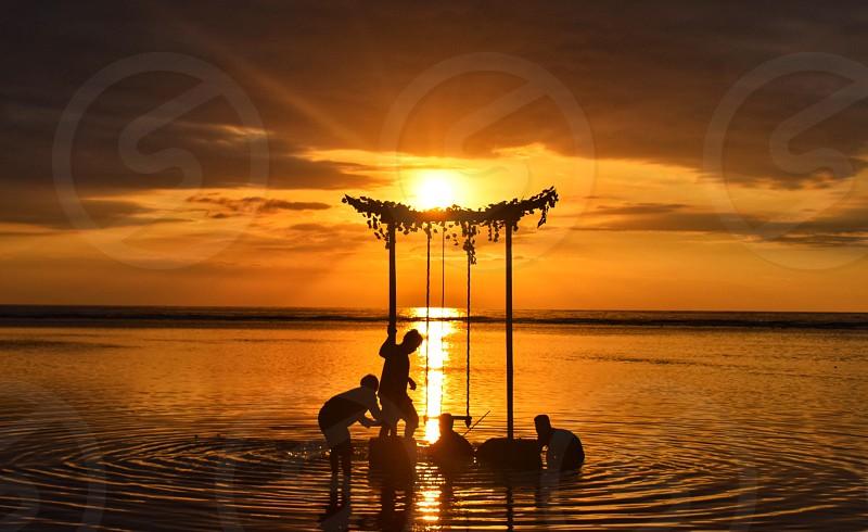 Fixing Under beautiful sunset at gili trawangan photo