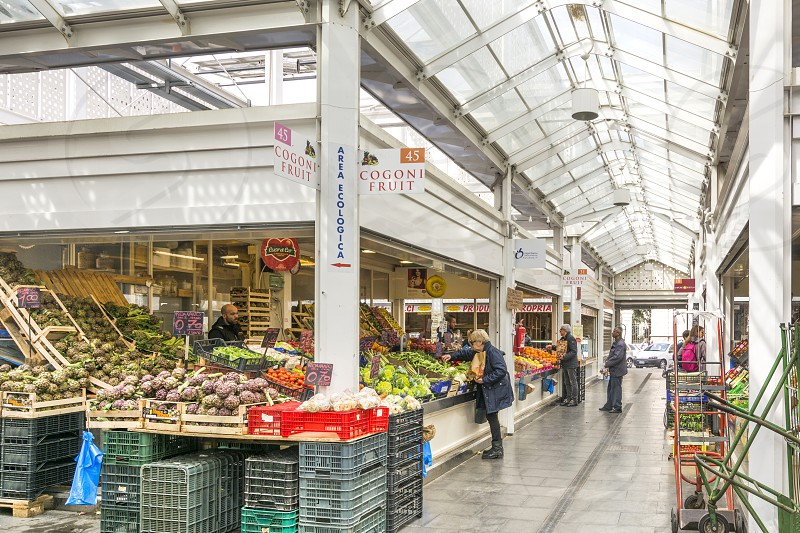 interior of the new mercato Testaccio in Rome with food stalls and crowd photo