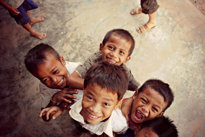 happy kids in cambodia  photo