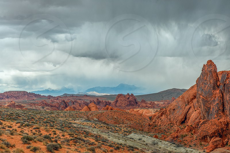Thunderstorm over sandstone formations in Valley of Fire State Park. Nevada. USA photo