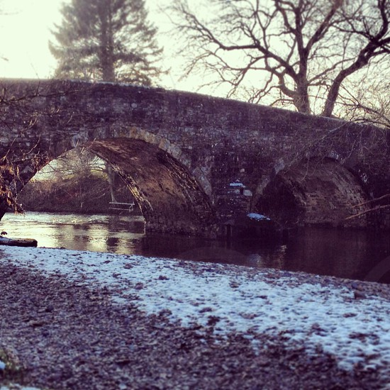 Majestic country bridge on a cold winters morning  photo
