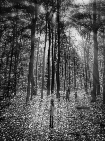 people at the forest in grayscale photography photo