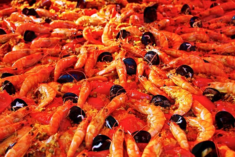 Paella. Close up texture background. photo