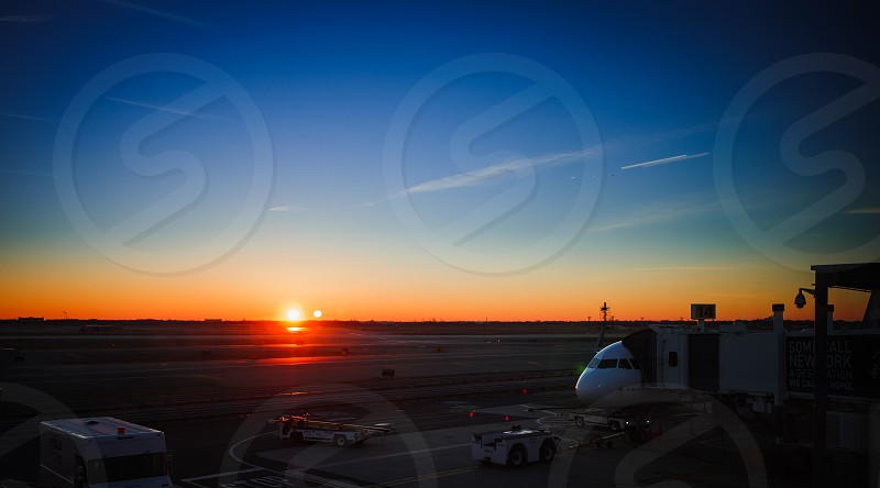 Early morning at the JFK International Airport waiting to board a flight. photo